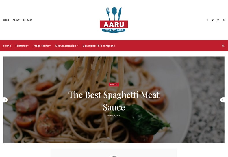 Aaru Blogger Template is a highly advantageous theme for recipe and chef bloggers.