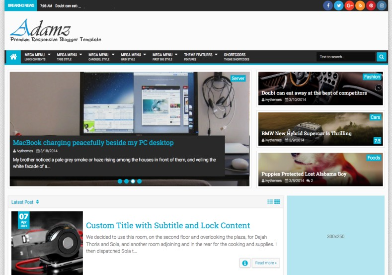 Adamz Blogger Template 2015. buy premium blogger themes