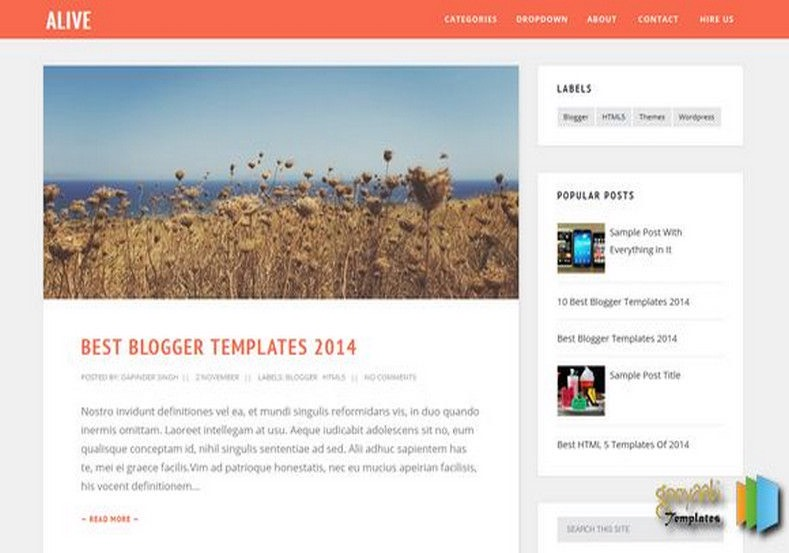 Alive Blogger Template responsive simple multi colors
