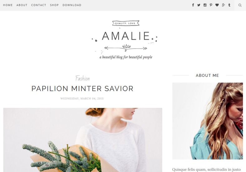Amalie Blogger Template come from new designer named beauty templates. Specially created for girls and fashion blogs. Get new Amalie Blogger Template to renovate your blogger blog.