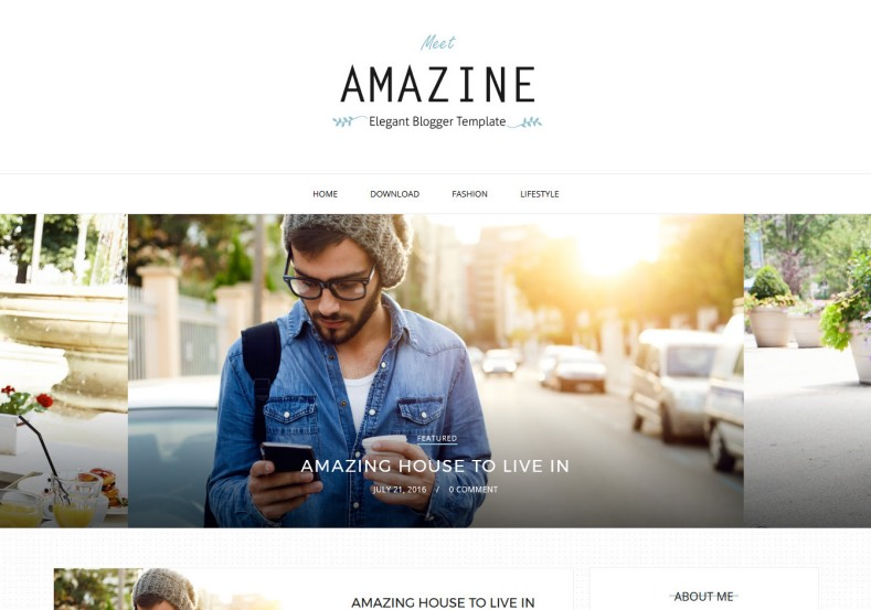 Amazine Simple Blogger Template. Simple and modern blogger template for renovate blogger blog with high quality. Simple list blog elements for reading blog. Amazine Simple Blogger Template.