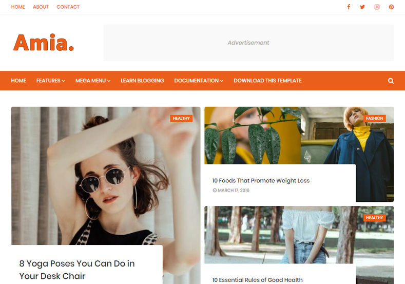 Amia Blogger Template is an outstanding minimal, elegant and amazingly designed free blogger theme for blogspot platform