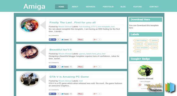 Amiga Responsive Blogger Template