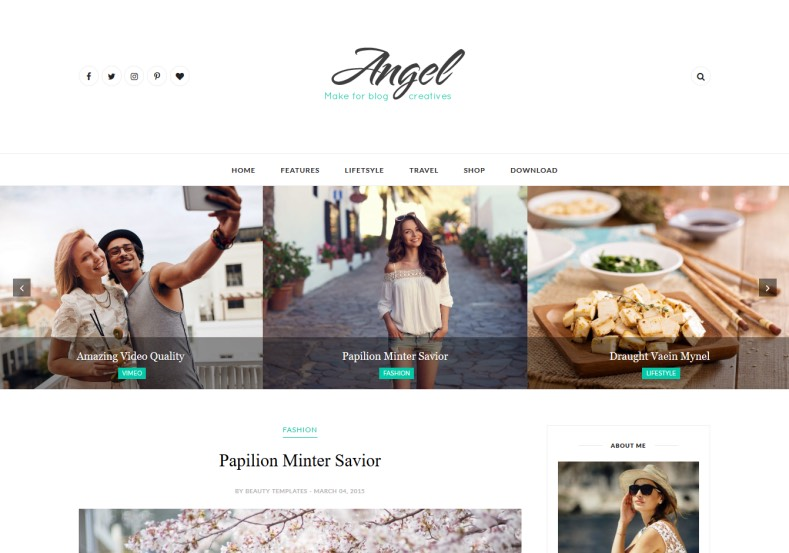 Angel Blogger Template. Best quality feminist blogger templates 2017 for building girls, fashion and lifestyle blogger blogs. Download free Angel Blogger Template for blogger blog and attract your audience.