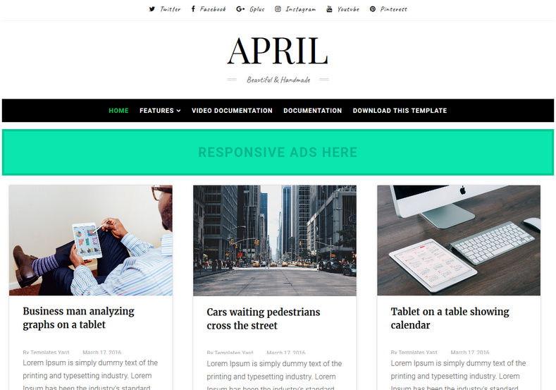 April Blogger Template is a grid 3 column fast loading best blogspot theme with many new and advanced features