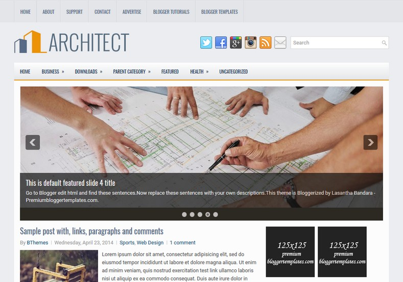 Architect Responsive Blogger Template. Blogger Themes. Free Blogspot templates for your blogger blog. Best suitable for news blog templates. Ads ready blogspot templates help for add adsense ad code and easily showing adsence ads in your blog. Adapted from WordPress templates are converted from WordPress themes. It is help for take your rich. Blogger magazine template specially designed for magazine blogs. The writers can utilize this themes for take blog attractive to users. Elegant themes are more used themes in most of the blogs. Use minimalist blog templates for rich look for your blog. Free premium blogger themes means, themes authors release two types of themes. One is premium another one is free. Premium templates given for cost but free themes given for no cost. You no need pay From California, USA. $10 USD, or $20 USD and more. But premium buyers get more facilities from authors But free buyers. If you run game or other animation oriented blogs, and you can try with Anime blog templates. Today the world is fashion world. So girls involve to the criteria for make their life fashionable. So we provide fashion blogger themes for make your fashionable. News is most important concept of the world. Download news blogger templates for publishing online news. You can make your blog as online shopping store. Get Online shopping store blogger template to sell your product. Navigation is most important to users find correct place. Download drop down menu, page navigation menu, breadcrumb navigation menu and vertical dropdown menu blogspot themes for free. Google Guide to blogging tips and tricks for bloggers. Google bloggers can get blogspot trick and tips for bloggers. Blog templates portfolio professional blogspot themes, You can store your life moments with your blogs with personal pages templates. Video and movie blogs owners get amazing movie blog themes for their blogs. Business templates download. We publish blogger themes for photographers. Photographers easily share photos via photography blog themes. St valentine Christmas Halloween templates. Download Slideshow slider templates for free. Under construction coming soon custom blogspot template. Best beautiful high quality Custom layouts Blog templates from templateism, SoraTemplates, templatetrackers, simple, cute free premium professional unique designs blog themes blogspot themes. Seo ready portfolio anime fashion movie movies health custom layouts best download blogspot themes simple cute free premium professional unique designs xml html code html5.