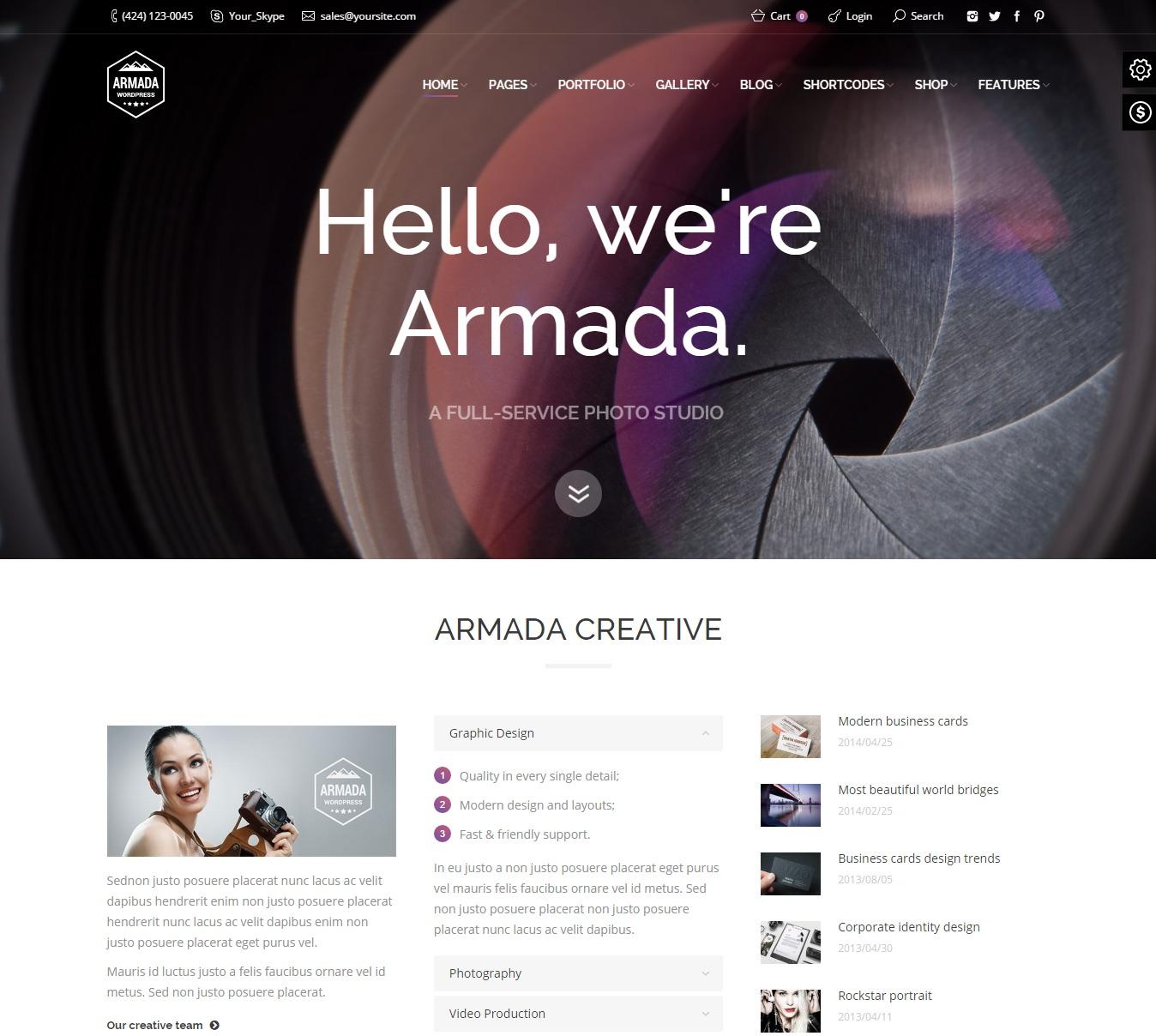 Armada — Multifunction Photography WordPress Theme
