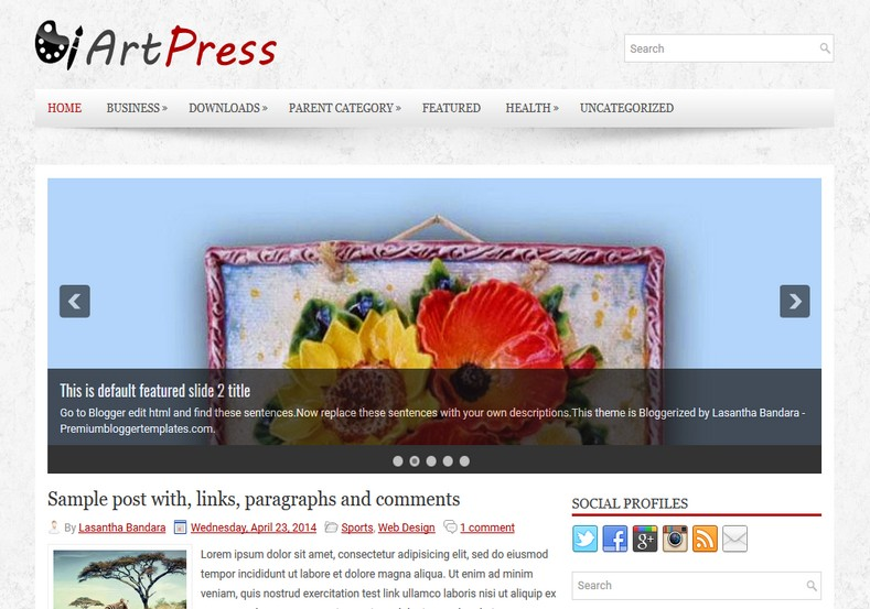 ArtPress 2 columns Blogger Template. Blogger Themes. Free Blogspot templates for your blogger blog. Best suitable for news blog templates. Ads ready blogspot templates help for add adsense ad code and easily showing adsence ads in your blog. Adapted from WordPress templates are converted from WordPress themes. It is help for take your rich. Blogger magazine template specially designed for magazine blogs. The writers can utilize this themes for take blog attractive to users. Elegant themes are more used themes in most of the blogs. Use minimalist blog templates for rich look for your blog. Free premium blogger themes means, themes authors release two types of themes. One is premium another one is free. Premium templates given for cost but free themes given for no cost. You no need pay From California, USA. $10 USD, or $20 USD and more. But premium buyers get more facilities from authors But free buyers. If you run game or other animation oriented blogs, and you can try with Anime blog templates. Today the world is fashion world. So girls involve to the criteria for make their life fashionable. So we provide fashion blogger themes for make your fashionable. News is most important concept of the world. Download news blogger templates for publishing online news. You can make your blog as online shopping store. Get Online shopping store blogger template to sell your product. Navigation is most important to users find correct place. Download drop down menu, page navigation menu, breadcrumb navigation menu and vertical dropdown menu blogspot themes for free. Google Guide to blogging tips and tricks for bloggers. Google bloggers can get blogspot trick and tips for bloggers. Blog templates portfolio professional blogspot themes, You can store your life moments with your blogs with personal pages templates. Video and movie blogs owners get amazing movie blog themes for their blogs. Business templates download. We publish blogger themes for photographers. Photographers easily share photos via photography blog themes. St valentine Christmas Halloween templates. Download Slideshow slider templates for free. Under construction coming soon custom blogspot template. Best beautiful high quality Custom layouts Blog templates from templateism, SoraTemplates, templatetrackers, simple, cute free premium professional unique designs blog themes blogspot themes. Seo ready portfolio anime fashion movie movies health custom layouts best download blogspot themes simple cute free premium professional unique designs xml html code html5.