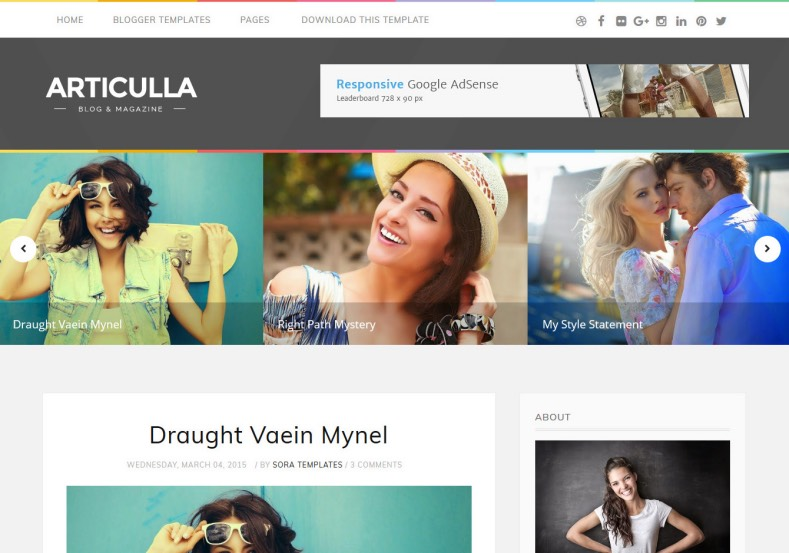 Articulla Blogger Template 2015 free download. blogspot template and design