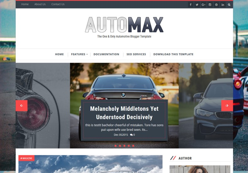 Automax Blogger Template. Blogger templates specially created and published for blogs about cars and motorsport. Car trades, Used cars sellers and cars reviewer can use this template. Automax Blogger Template.