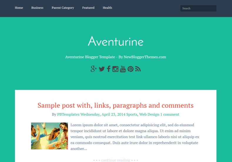 Aventurine Simple Blogger Template. free blogger templates 2015