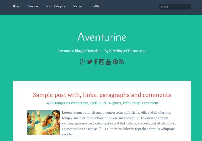 Aventurine Simple Blogger Template. free blogger templates 2015