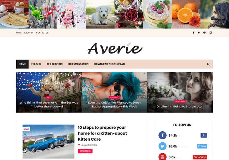 Averie Minimal Blogger Template is a semi magazine fashion girly blogspot theme with fast speed and instagram ready features