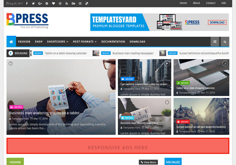 BPress Magazine Blogger Template is an advanced seo ready boxed responsive fast loading blogger theme