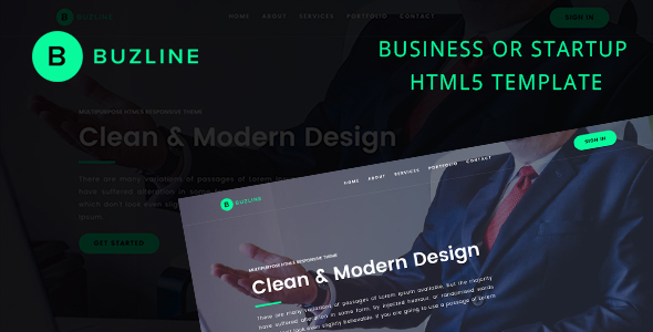 BUZLINE HTML5 Responsive Startup Template