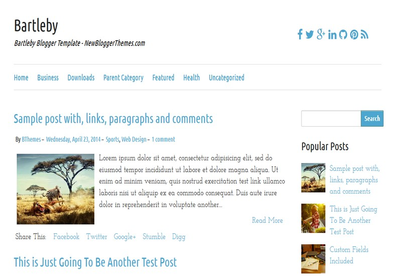Bartleby Simple Blogger Template. Blogger Themes. Free Blogspot templates for your blogger blog. Best suitable for news blog templates. Ads ready blogspot templates help for add adsense ad code and easily showing adsence ads in your blog. Adapted from WordPress templates are converted from WordPress themes. It is help for take your rich. Blogger magazine template specially designed for magazine blogs. The writers can utilize this themes for take blog attractive to users. Elegant themes are more used themes in most of the blogs. Use minimalist blog templates for rich look for your blog. Free premium blogger themes means, themes authors release two types of themes. One is premium another one is free. Premium templates given for cost but free themes given for no cost. You no need pay From California, USA. $10 USD, or $20 USD and more. But premium buyers get more facilities from authors But free buyers. If you run game or other animation oriented blogs, and you can try with Anime blog templates. Today the world is fashion world. So girls involve to the criteria for make their life fashionable. So we provide fashion blogger themes for make your fashionable. News is most important concept of the world. Download news blogger templates for publishing online news. You can make your blog as online shopping store. Get Online shopping store blogger template to sell your product. Navigation is most important to users find correct place. Download drop down menu, page navigation menu, breadcrumb navigation menu and vertical dropdown menu blogspot themes for free. Google Guide to blogging tips and tricks for bloggers. Google bloggers can get blogspot trick and tips for bloggers. Blog templates portfolio professional blogspot themes, You can store your life moments with your blogs with personal pages templates. Video and movie blogs owners get amazing movie blog themes for their blogs. Business templates download. We publish blogger themes for photographers. Photographers easily share photos via photography blog themes. St valentine Christmas Halloween templates. Download Slideshow slider templates for free. Under construction coming soon custom blogspot template. Best beautiful high quality Custom layouts Blog templates from templateism, SoraTemplates, templatetrackers, simple, cute free premium professional unique designs blog themes blogspot themes. Seo ready portfolio anime fashion movie movies health custom layouts best download blogspot themes simple cute free premium professional unique designs xml html code html5.