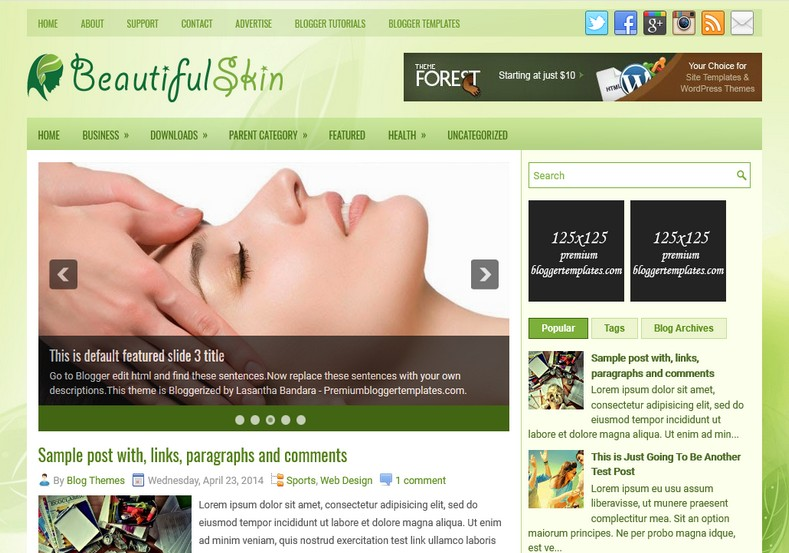 BeautifulSkin Green Blogger Template. Blogger Themes. Free Blogspot templates for your blogger blog. Best suitable for news blog templates. Ads ready blogspot templates help for add adsense ad code and easily showing adsence ads in your blog. Adapted from WordPress templates are converted from WordPress themes. It is help for take your rich. Blogger magazine template specially designed for magazine blogs. The writers can utilize this themes for take blog attractive to users. Elegant themes are more used themes in most of the blogs. Use minimalist blog templates for rich look for your blog. Free premium blogger themes means, themes authors release two types of themes. One is premium another one is free. Premium templates given for cost but free themes given for no cost. You no need pay From California, USA. $10 USD, or $20 USD and more. But premium buyers get more facilities from authors But free buyers. If you run game or other animation oriented blogs, and you can try with Anime blog templates. Today the world is fashion world. So girls involve to the criteria for make their life fashionable. So we provide fashion blogger themes for make your fashionable. News is most important concept of the world. Download news blogger templates for publishing online news. You can make your blog as online shopping store. Get Online shopping store blogger template to sell your product. Navigation is most important to users find correct place. Download drop down menu, page navigation menu, breadcrumb navigation menu and vertical dropdown menu blogspot themes for free. Google Guide to blogging tips and tricks for bloggers. Google bloggers can get blogspot trick and tips for bloggers. Blog templates portfolio professional blogspot themes, You can store your life moments with your blogs with personal pages templates. Video and movie blogs owners get amazing movie blog themes for their blogs. Business templates download. We publish blogger themes for photographers. Photographers easily share photos via photography blog themes. St valentine Christmas Halloween templates. Download Slideshow slider templates for free. Under construction coming soon custom blogspot template. Best beautiful high quality Custom layouts Blog templates from templateism, SoraTemplates, templatetrackers, simple, cute free premium professional unique designs blog themes blogspot themes. Seo ready portfolio anime fashion movie movies health custom layouts best download blogspot themes simple cute free premium professional unique designs xml html code html5.