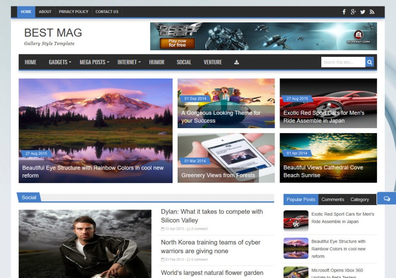 Best Mag Blogger Template. Blogger theme created by bloggertheme9. Magazine blogger themes with tabbed widget ready. Best Mag Blogger Template.