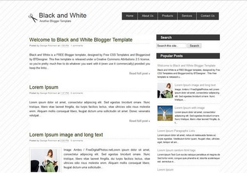 Black And White Blogger Template Free Templates Blog