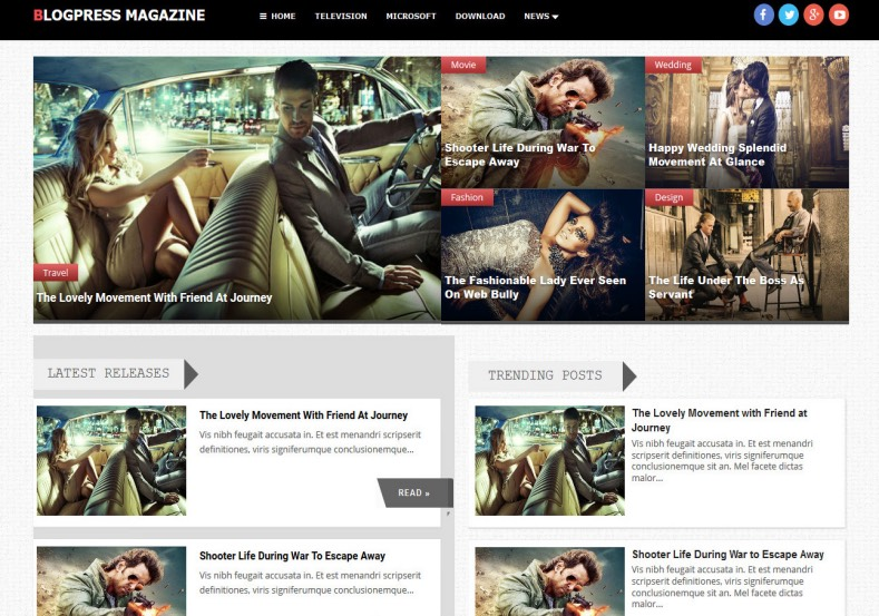 BlogPress Magazine Blogger Template. Blogger Themes. Free Blogspot templates for your blogger blog. Best suitable for news blog templates. Best Ads ready blogspot templates help for add adsense ad code and easily showing adsence ads in your blog. Adapted from WordPress templates are converted from WordPress themes. It is help for take your rich. Blogger magazine template specially designed for magazine blogs. The writers can utilize this themes for take blog attractive to users. Elegant themes are more used themes in most of the blogs. Use minimalist blog templates for rich look for your blog. Free premium blogger themes means, themes authors release two types of themes. One is premium another one is free. Premium templates given for cost but free themes given for no cost. You no need pay From California, USA. $10 USD, or $20 USD and more. But premium buyers get more facilities from authors But free buyers. If you run game or other animation oriented blogs, and you can try with Anime blog templates. Today the world is fashion world. So girls involve to the criteria for make their life fashionable. So we provide fashion blogger themes for make your fashionable. News is most important concept of the world. Download news blogger templates for publishing online news. You can make your blog as online shopping store. Get Online shopping store blogger template to sell your product. Navigation is most important to users find correct place. Download drop down menu, page navigation menu, breadcrumb navigation menu and vertical dropdown menu blogspot themes for free. Google Guide to blogging tips and tricks for bloggers. Google bloggers can get blogspot trick and tips for bloggers. Blog templates portfolio professional blogspot themes, You can store your life moments with your blogs with personal pages templates. Video and movie blogs owners get amazing movie blog themes for their blogs. Business templates download. We publish blogger themes for photographers. Photographers easily share photos via photography blog themes. St valentine Christmas Halloween templates. Download Slideshow slider templates for free. Under construction coming soon custom blogspot template. Best beautiful high quality Custom layouts Blog templates from templateism, soratemplates, templatetrackers, simple, cute free premium professional unique designs blog themes blogspot themes. Seo ready portfolio anime fashion movie movies health custom layouts best download blogspot themes simple cute free premium professional unique designs xml html code html5. BlogPress Magazine Blogger Template