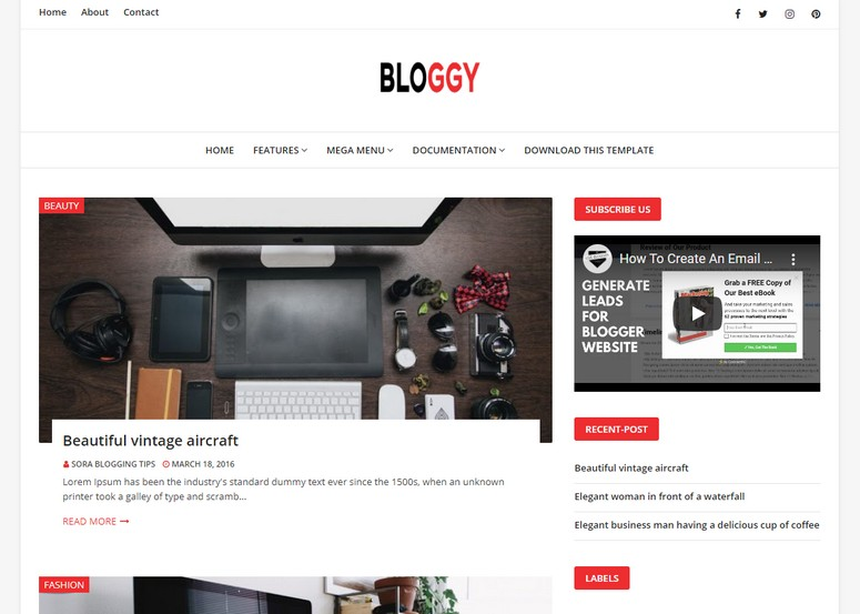Bloggy Blogger Template is a simple blogspot theme with appealing and minimal design with fully responsive layout and clean typography.