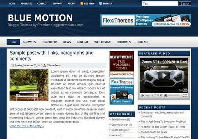 Blue motion blogger template 2014 free download for Motion 4 templates free download