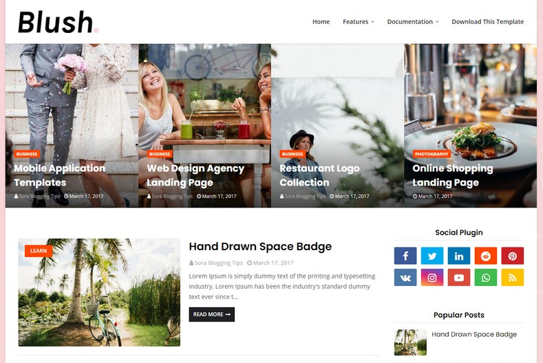 Blush Blogger Template is a nicely designed clean and minimal looking theme with elegant design and modern looks.