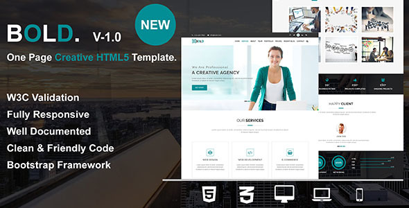 Bold - One Page Creative HTML5 Responsive Business Template