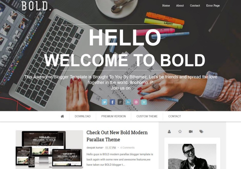 Bold Parallax Blogger Template 2014 Free Download