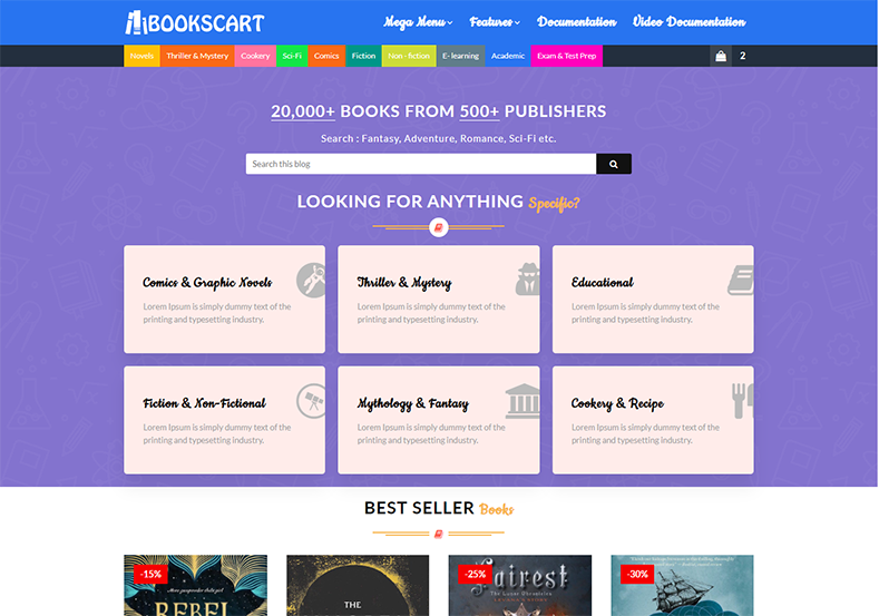 BooksCart Blogger Template is a powerful and stylish looking e-commerce theme built on blogspot platform for online books shopping