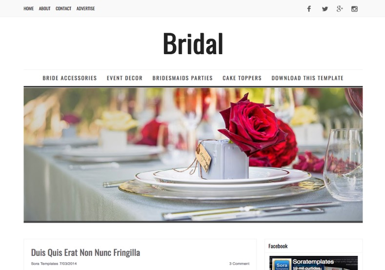 Bridal Blogger Template minimalist responsive