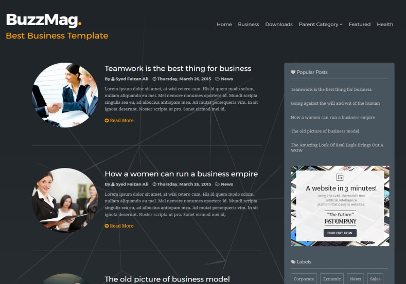 BuzzMag Responsive Blogger Template. Blogger Themes. Free Blogspot templates for your blogger blog. Best suitable for news blog templates. Best Ads ready blogspot templates help for add adsense ad code and easily showing adsence ads in your blog. Adapted from WordPress templates are converted from WordPress themes. It is help for take your rich. Blogger magazine template specially designed for magazine blogs. The writers can utilize this themes for take blog attractive to users. Elegant themes are more used themes in most of the blogs. Use minimalist blog templates for rich look for your blog. Free premium blogger themes means, themes authors release two types of themes. One is premium another one is free. Premium templates given for cost but free themes given for no cost. You no need pay From California, USA. $10 USD, or $20 USD and more. But premium buyers get more facilities from authors But free buyers. If you run game or other animation oriented blogs, and you can try with Anime blog templates. Today the world is fashion world. So girls involve to the criteria for make their life fashionable. So we provide fashion blogger themes for make your fashionable. News is most important concept of the world. Download news blogger templates for publishing online news. You can make your blog as online shopping store. Get Online shopping store blogger template to sell your product. Navigation is most important to users find correct place. Download drop down menu, page navigation menu, breadcrumb navigation menu and vertical dropdown menu blogspot themes for free. Google Guide to blogging tips and tricks for bloggers. Google bloggers can get blogspot trick and tips for bloggers. Blog templates portfolio professional blogspot themes, You can store your life moments with your blogs with personal pages templates. Video and movie blogs owners get amazing movie blog themes for their blogs. Business templates download. We publish blogger themes for photographers. Photographers ea