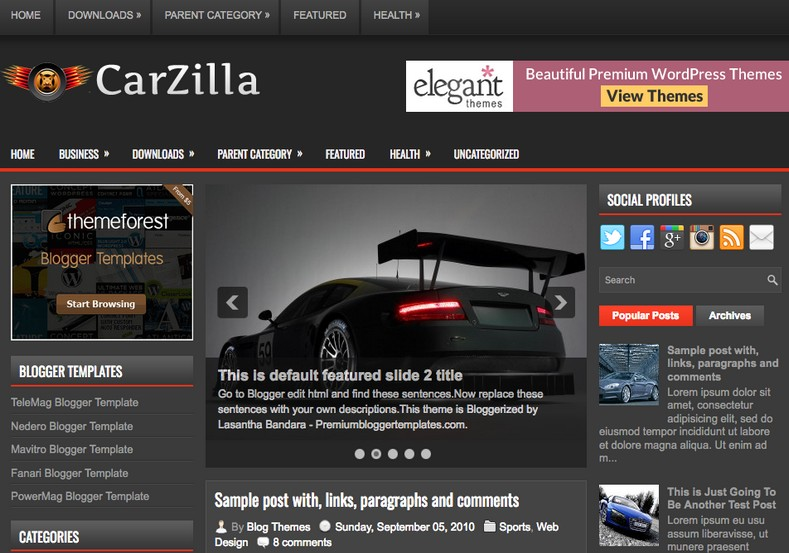 CarZilla Blogger Template. Blogger Themes. Free Blogspot templates for your blogger blog. Best suitable for news blog templates. Best Ads ready blogspot templates help for add adsense ad code and easily showing adsence ads in your blog. Adapted from WordPress templates are converted from WordPress themes. It is help for take your rich. Blogger magazine template specially designed for magazine blogs. The writers can utilize this themes for take blog attractive to users. Elegant themes are more used themes in most of the blogs. Use minimalist blog templates for rich look for your blog. Free premium blogger themes means, themes authors release two types of themes. One is premium another one is free. Premium templates given for cost but free themes given for no cost. You no need pay From California, USA. $10 USD, or $20 USD and more. But premium buyers get more facilities from authors But free buyers. If you run game or other animation oriented blogs, and you can try with Anime blog templates. Today the world is fashion world. So girls involve to the criteria for make their life fashionable. So we provide fashion blogger themes for make your fashionable. News is most important concept of the world. Download news blogger templates for publishing online news. You can make your blog as online shopping store. Get Online shopping store blogger template to sell your product. Navigation is most important to users find correct place. Download drop down menu, page navigation menu, breadcrumb navigation menu and vertical dropdown menu blogspot themes for free. Google Guide to blogging tips and tricks for bloggers. Google bloggers can get blogspot trick and tips for bloggers. Blog templates portfolio professional blogspot themes, You can store your life moments with your blogs with personal pages templates. Video and movie blogs owners get amazing movie blog themes for their blogs. Business templates download. We publish blogger themes for photographers. Photographers easily share photos via photography blog themes. St valentine Christmas Halloween templates. Download Slideshow slider templates for free. Under construction coming soon custom blogspot template. Best beautiful high quality Custom layouts Blog templates from templateism, soratemplates, templatetrackers, simple, cute free premium professional unique designs blog themes blogspot themes. Seo ready portfolio anime fashion movie movies health custom layouts best download blogspot themes simple cute free premium professional unique designs xml html code html5.