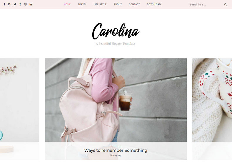 Carolina Blogger Template is a minimal blogspot theme with 100% responsive and fast loading speed