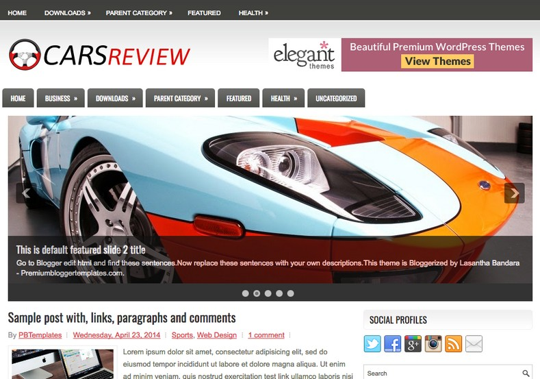CarsReview Gray Blogger Template. Blogger Themes. Free Blogspot templates for your blogger blog. Best suitable for news blog templates. Best Ads ready blogspot templates help for add adsense ad code and easily showing adsence ads in your blog. Adapted from WordPress templates are converted from WordPress themes. It is help for take your rich. Blogger magazine template specially designed for magazine blogs. The writers can utilize this themes for take blog attractive to users. Elegant themes are more used themes in most of the blogs. Use minimalist blog templates for rich look for your blog. Free premium blogger themes means, themes authors release two types of themes. One is premium another one is free. Premium templates given for cost but free themes given for no cost. You no need pay From California, USA. $10 USD, or $20 USD and more. But premium buyers get more facilities from authors But free buyers. If you run game or other animation oriented blogs, and you can try with Anime blog templates. Today the world is fashion world. So girls involve to the criteria for make their life fashionable. So we provide fashion blogger themes for make your fashionable. News is most important concept of the world. Download news blogger templates for publishing online news. You can make your blog as online shopping store. Get Online shopping store blogger template to sell your product. Navigation is most important to users find correct place. Download drop down menu, page navigation menu, breadcrumb navigation menu and vertical dropdown menu blogspot themes for free. Google Guide to blogging tips and tricks for bloggers. Google bloggers can get blogspot trick and tips for bloggers. Blog templates portfolio professional blogspot themes, You can store your life moments with your blogs with personal pages templates. Video and movie blogs owners get amazing movie blog themes for their blogs. Business templates download. We publish blogger themes for photographers. Photographers easily share photos via photography blog themes. St valentine Christmas Halloween templates. Download Slideshow slider templates for free. Under construction coming soon custom blogspot template. Best beautiful high quality Custom layouts Blog templates from templateism, soratemplates, templatetrackers, simple, cute free premium professional unique designs blog themes blogspot themes. Seo ready portfolio anime fashion movie movies health custom layouts best download blogspot themes simple cute free premium professional unique designs xml html code html5.
