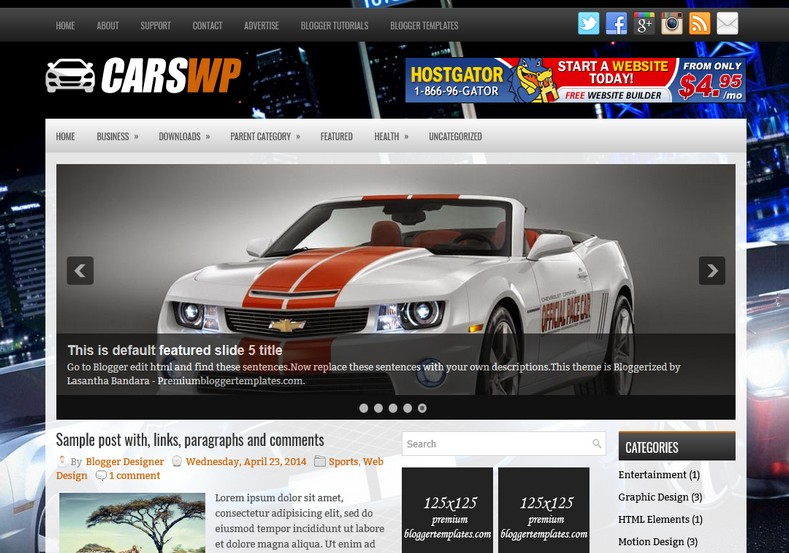 CarsWp Motors Blogger Template. Blogger Themes. Free Blogspot templates for your blogger blog. Best suitable for news blog templates. Ads ready blogspot templates help for add adsense ad code and easily showing adsence ads in your blog. Adapted from WordPress templates are converted from WordPress themes. It is help for take your rich. Blogger magazine template specially designed for magazine blogs. The writers can utilize this themes for take blog attractive to users. Elegant themes are more used themes in most of the blogs. Minimalist blog templates. Free premium blogger themes means, themes authors release two types of themes. One is premium another one is free. Premium templates given for cost but free themes given for no cost. You no need pay From California, USA. $10 USD, or $20 USD and more. But premium buyers get more facilities from authors But free buyers. If you run game or other animation oriented blogs, and you can try with Anime blog templates. Today the world is fashion world. So girls involve to the criteria for make their life fashionable. So we provide fashion blogger themes for make your fashionable. News is most important concept of the world. Download news blogger templates for publishing online news. You can make your blog as online shopping store. Get Online shopping store blogger template to sell your product. Navigation is most important to users find correct place. Download drop down menu, page navigation menu, breadcrumb navigation menu and vertical dropdown menu blogspot themes for free. Google Guide. Blogging tips and Tricks for bloggers. Google bloggers can get blogspot trick and tips for bloggers. Blog templates portfolio professional blogspot themes, You can store your life moments with your blogs with personal pages templates. Video and movie blogs owners get amazing movie blog themes for their blogs. Business templates download. We publish blogger themes for photographers. Photographers easily share photos via photography blog themes. St valentine Christmas Halloween templates. Download Slideshow slider templates for free. Under construction coming soon custom blogspot template. Best beautiful high quality Custom layouts Blog templates from templateism, SoraTemplates, templatetrackers, simple, cute free premium professional unique designs blog themes blogspot themes. Seo ready portfolio anime fashion movie movies health custom layouts best download blogspot themes simple cute free premium professional unique designs xml html code html5.