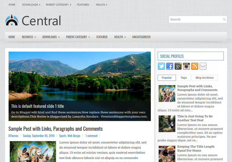 Central Blog Blogger Template is a clean minimal blogspot theme with perfect design and latest features
