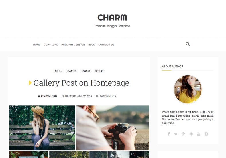Charm Responsive Blogger Template. Blogger Themes. Free Blogspot templates for your blogger blog. Best suitable for news blog templates. Best Ads ready blogspot templates help for add adsense ad code and easily showing adsence ads in your blog. Adapted from WordPress templates are converted from WordPress themes. It is help for take your rich. Blogger magazine template specially designed for magazine blogs. The writers can utilize this themes for take blog attractive to users. Elegant themes are more used themes in most of the blogs. Use minimalist blog templates for rich look for your blog. Free premium blogger themes means, themes authors release two types of themes. One is premium another one is free. Premium templates given for cost but free themes given for no cost. You no need pay From California, USA. $10 USD, or $20 USD and more. But premium buyers get more facilities from authors But free buyers. If you run game or other animation oriented blogs, and you can try with Anime blog templates. Today the world is fashion world. So girls involve to the criteria for make their life fashionable. So we provide fashion blogger themes for make your fashionable. News is most important concept of the world. Download news blogger templates for publishing online news. You can make your blog as online shopping store. Get Online shopping store blogger template to sell your product. Navigation is most important to users find correct place. Download drop down menu, page navigation menu, breadcrumb navigation menu and vertical dropdown menu blogspot themes for free. Google Guide to blogging tips and tricks for bloggers. Google bloggers can get blogspot trick and tips for bloggers. Blog templates portfolio professional blogspot themes, You can store your life moments with your blogs with personal pages templates. Video and movie blogs owners get amazing movie blog themes for their blogs. Business templates download. We publish blogger themes for photographers. Photographers easily share photos via photography blog themes. St valentine Christmas Halloween templates. Download Slideshow slider templates for free. Under construction coming soon custom blogspot template. Best beautiful high quality Custom layouts Blog templates from templateism, SoraTemplates, templatetrackers, simple, cute free premium professional unique designs blog themes blogspot themes. Seo ready portfolio anime fashion movie movies health custom layouts best download blogspot themes simple cute free premium professional unique designs xml html code html5.