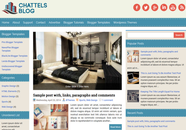 ChattelsBlog Blue Blogger Template. Blogger Themes. Free Blogspot templates for your blogger blog. Best suitable for news blog templates. Ads ready blogspot templates help for add adsense ad code and easily showing adsence ads in your blog. Adapted from WordPress templates are converted from WordPress themes. It is help for take your rich. Blogger magazine template specially designed for magazine blogs. The writers can utilize this themes for take blog attractive to users. Elegant themes are more used themes in most of the blogs. Use minimalist blog templates for rich look for your blog. Free premium blogger themes means, themes authors release two types of themes. One is premium another one is free. Premium templates given for cost but free themes given for no cost. You no need pay From California, USA. $10 USD, or $20 USD and more. But premium buyers get more facilities from authors But free buyers. If you run game or other animation oriented blogs, and you can try with Anime blog templates. Today the world is fashion world. So girls involve to the criteria for make their life fashionable. So we provide fashion blogger themes for make your fashionable. News is most important concept of the world. Download news blogger templates for publishing online news. You can make your blog as online shopping store. Get Online shopping store blogger template to sell your product. Navigation is most important to users find correct place. Download drop down menu, page navigation menu, breadcrumb navigation menu and vertical dropdown menu blogspot themes for free. Google Guide to blogging tips and tricks for bloggers. Google bloggers can get blogspot trick and tips for bloggers. Blog templates portfolio professional blogspot themes, You can store your life moments with your blogs with personal pages templates. Video and movie blogs owners get amazing movie blog themes for their blogs. Business templates download. We publish blogger themes for photographers. Photographers easily s