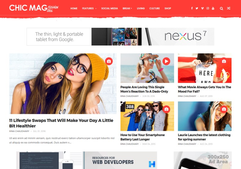 Chicmag Fashion Blogger Template comes with lot of post format for free blogger templates 2017 to give establish more audience. Get Chicmag Fashion Blogger Template and renovate your blogspot.