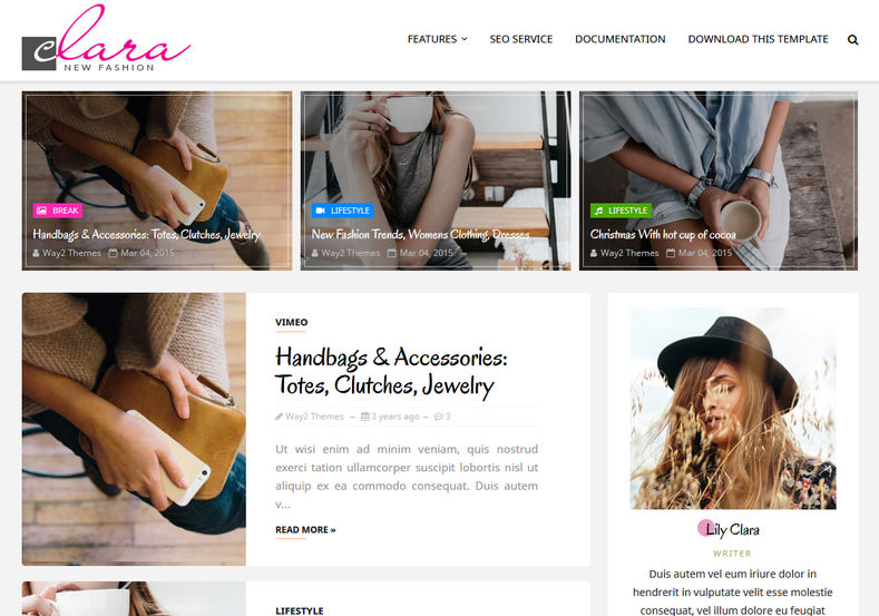 Clara Fashion Blogger Template is an impressive, super light, flexible and feature rich girly responsive and fast loading blogspot theme with 100% responsive layout