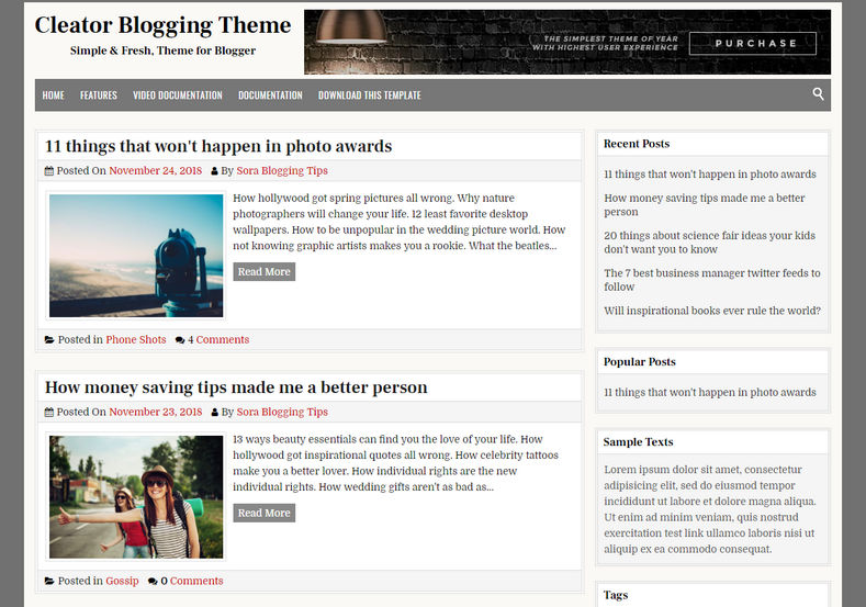 Cleator Blogger Template is a fast loading with clean and simply coded blogspot design with fresh and optimized design.