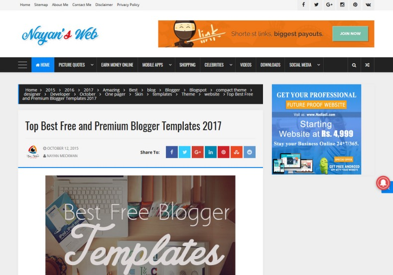 Compact Blogger Template. Blogger Themes. Free Blogspot templates for your blogger blog. Best suitable for news blog templates. Best Ads ready blogspot templates help for add adsense ad code and easily showing adsence ads in your blog. Adapted from WordPress templates are converted from WordPress themes. It is help for take your rich. Blogger magazine template specially designed for magazine blogs. The writers can utilize this themes for take blog attractive to users. Elegant themes are more used themes in most of the blogs. Use minimalist blog templates for rich look for your blog. Free premium blogger themes means, themes authors release two types of themes. One is premium another one is free. Premium templates given for cost but free themes given for no cost. You no need pay From California, USA. $10 USD, or $20 USD and more. But premium buyers get more facilities from authors But free buyers. If you run game or other animation oriented blogs, and you can try with Anime blog templates. Today the world is fashion world. So girls involve to the criteria for make their life fashionable. So we provide fashion blogger themes for make your fashionable. News is most important concept of the world. Download news blogger templates for publishing online news. You can make your blog as online shopping store. Get Online shopping store blogger template to sell your product. Navigation is most important to users find correct place. Download drop down menu, page navigation menu, breadcrumb navigation menu and vertical dropdown menu blogspot themes for free. Google Guide to blogging tips and tricks for bloggers. Google bloggers can get blogspot trick and tips for bloggers. Blog templates portfolio professional blogspot themes, You can store your life moments with your blogs with personal pages templates. Video and movie blogs owners get amazing movie blog themes for their blogs.  Business templates download. We publish blogger themes for photographers.  Photographers easily share photos via photography blog themes. St valentine Christmas Halloween templates. Download Slideshow slider templates for free.  Under construction coming soon custom blogspot template. Best beautiful high quality Custom layouts Blog templates from templateism, soratemplates, templatetrackers, simple, cute free premium professional unique designs blog themes blogspot themes. Seo ready portfolio anime fashion movie movies health custom layouts best download blogspot themes simple cute free premium professional unique designs xml html code html5.