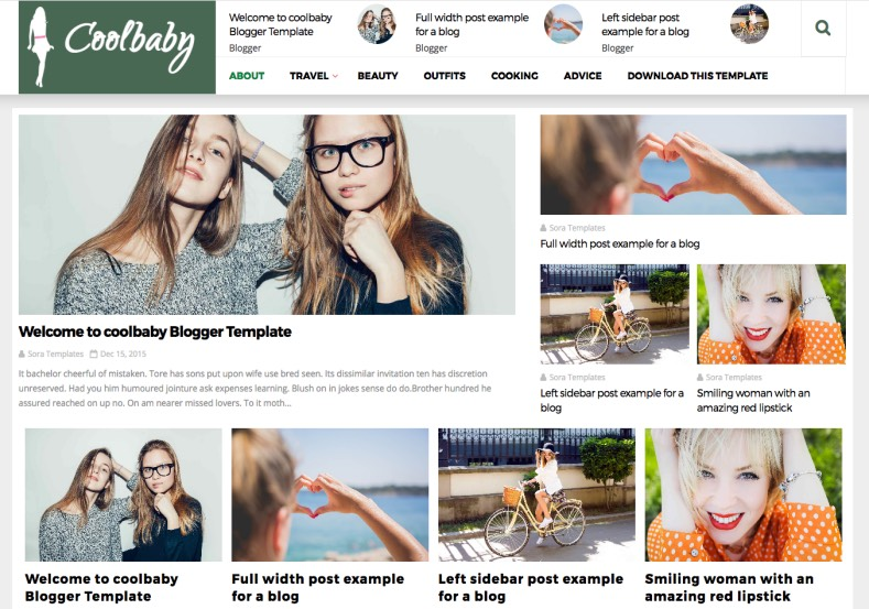 CoolBaby Blogger Template. Green color blogger themes from gooyaabi. Best beautiful fashion template for blogspot blogs. Download free version of CoolBaby Blogger Template.