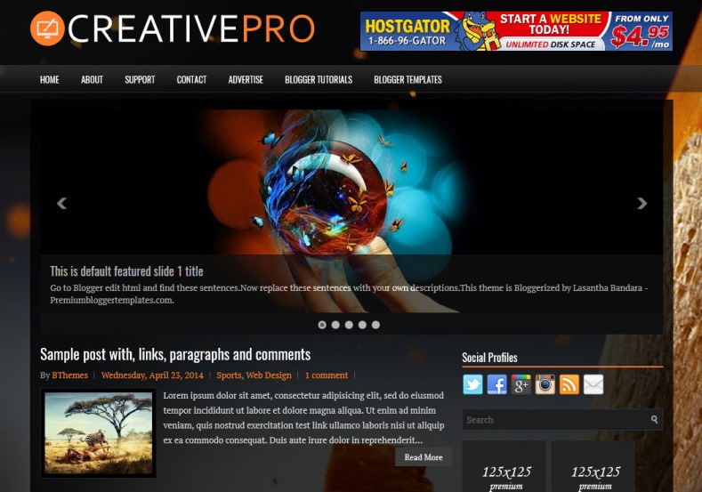 CreativePro Blogger Template. Blogger Themes. Best suitable for news blog templates. Ads ready blogspot templates help for add adsense ad code and easily showing adsence ads in your blog. Adapted from WordPress templates are converted from WordPress themes. It is help for take your rich. Blogger magazine template specially designed for magazine blogs. The writers can utilize this themes for take blog attractive to users. Elegant themes are more used themes in most of the blogs. Minimalist blog templates. Free premium blogger themes means, themes authors release two types of themes. One is premium another one is free. Premium templates given for cost but free themes given for no cost. You no need pay From California, USA. $10 USD, or $20 USD and more. But premium buyers get more facilities from authors But free buyers. If you run game or other animation oriented blogs, and you can try with Anime blog templates. Today the world is fashion world. So girls involve to the criteria for make their life fashionable. So we provide fashion blogger themes for make your fashionable. News is most important concept of the world. Download news blogger templates for publishing online news. You can make your blog as online shopping store. Get Online shopping store blogger template to sell your product. Navigation is most important to users find correct place. Download drop down menu, page navigation menu, breadcrumb navigation menu and vertical dropdown menu blogspot themes for free. Google Guide. Blogging tips and Tricks for bloggers. Google bloggers can get blogspot trick and tips for bloggers. Blog templates portfolio professional blogspot themes, You can store your life moments with your blogs with personal pages templates. Video and movie blogs owners get amazing movie blog themes for their blogs. Business templates download. We publish blogger themes for photographers. Photographers easily share photos via photography blog themes. St valentine Christmas Halloween templates. Download Slideshow slider templates for free. Under construction coming soon custom blogspot template. Best beautiful high quality Custom layouts Blog templates from templateism, SoraTemplates, templatetrackers, simple, cute free premium professional unique designs blog themes blogspot themes. Seo ready portfolio anime fashion movie movies health custom layouts best download blogspot themes simple cute free premium professional unique designs xml html code html5.