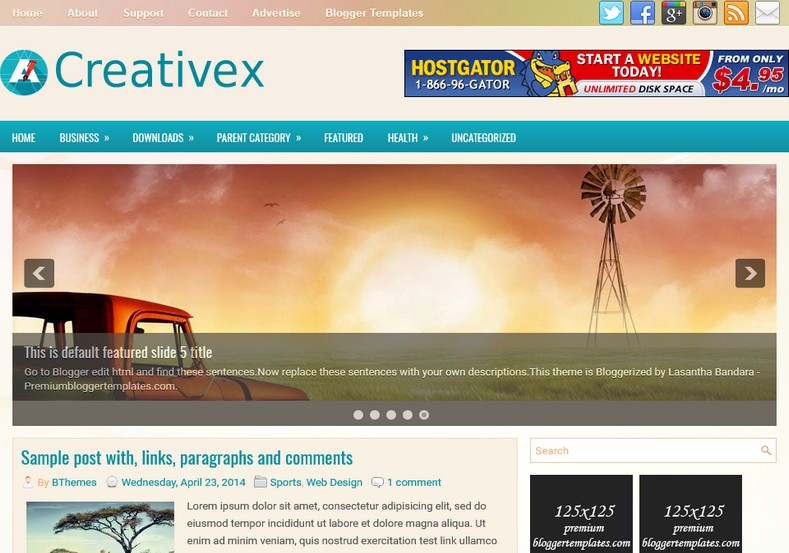 Creativex Responsive Blogger Template. Blogger Themes. Free Blogspot templates for your blogger blog. Best suitable for news blog templates. Ads ready blogspot templates help for add adsense ad code and easily showing adsence ads in your blog. Adapted from WordPress templates are converted from WordPress themes. It is help for take your rich. Blogger magazine template specially designed for magazine blogs. The writers can utilize this themes for take blog attractive to users. Elegant themes are more used themes in most of the blogs. Minimalist blog templates. Free premium blogger themes means, themes authors release two types of themes. One is premium another one is free. Premium templates given for cost but free themes given for no cost. You no need pay From California, USA. $10 USD, or $20 USD and more. But premium buyers get more facilities from authors But free buyers. If you run game or other animation oriented blogs, and you can try with Anime blog templates. Today the world is fashion world. So girls involve to the criteria for make their life fashionable. So we provide fashion blogger themes for make your fashionable. News is most important concept of the world. Download news blogger templates for publishing online news. You can make your blog as online shopping store. Get Online shopping store blogger template to sell your product. Navigation is most important to users find correct place. Download drop down menu, page navigation menu, breadcrumb navigation menu and vertical dropdown menu blogspot themes for free. Google Guide. Blogging tips and Tricks for bloggers. Google bloggers can get blogspot trick and tips for bloggers. Blog templates portfolio professional blogspot themes, You can store your life moments with your blogs with personal pages templates. Video and movie blogs owners get amazing movie blog themes for their blogs. Business templates download. We publish blogger themes for photographers. Photographers easily share photos via photography blog themes. St valentine Christmas Halloween templates. Download Slideshow slider templates for free. Under construction coming soon custom blogspot template. Best beautiful high quality Custom layouts Blog templates from templateism, soratemplates, templatetrackers, simple, cute free premium professional unique designs blog themes blogspot themes. Seo ready portfolio anime fashion movie movies health custom layouts best download blogspot themes simple cute free premium professional unique designs xml html code html5.