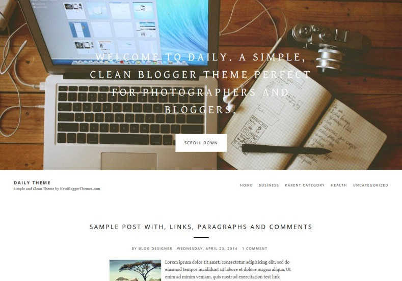 Daily Theme Blogger Template blogging template