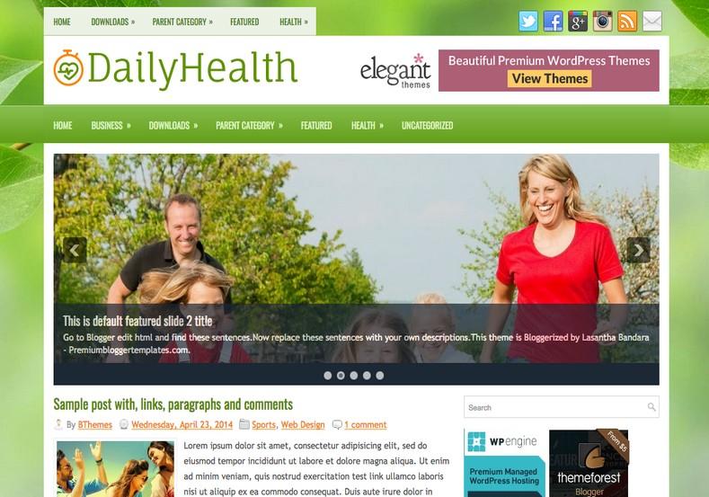 DailyHealth Green Blogger Template. 2015 Free blogger templates