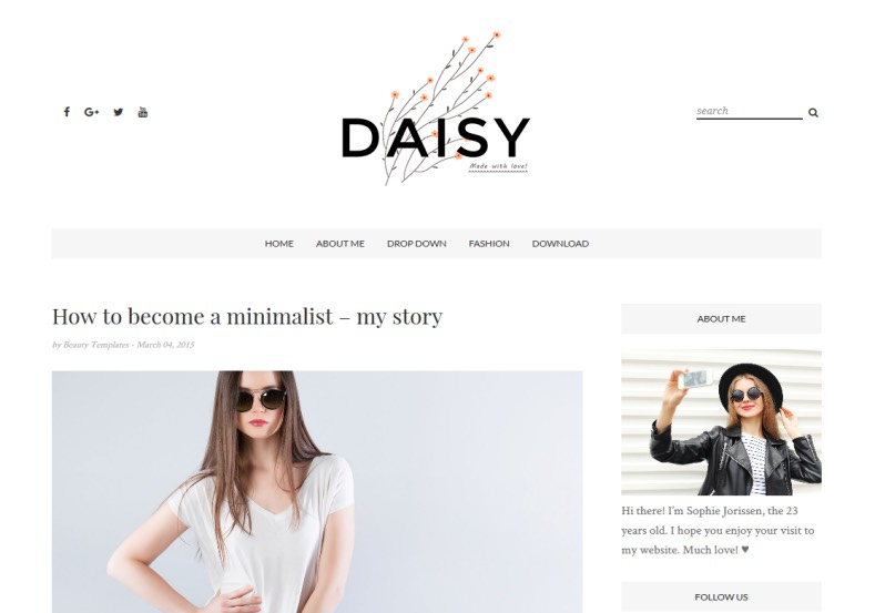 Daisy Clean Blogger Template best free blogger templates 2017 for girls and fashion blogging habits blogs. Download best free blogspot and blog themes for your blogger. Daisy Clean Blogger Template.