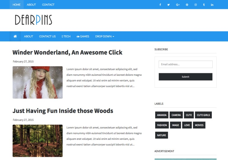 Dearpins Blogger Template. Simple and best quality blogspot themes for blogger blogspot blog. Download best blog and magazine theme for blogger. Dearpins Blogger Template